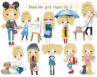 Blonde hair girl Clip art set 5 , instant download PNG file - 300 dpi