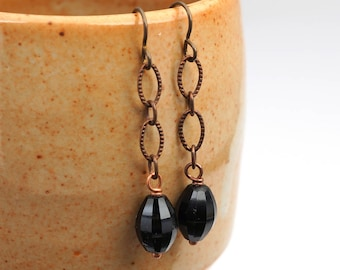 "Black dangle earrings, Niobium French hooks, copper chain, 2"" long"