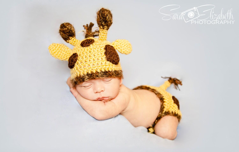 ?zoom  sc 1 st  Etsy & Baby Giraffe Photo PropGiraffe Hat and Diaper CoverSafari