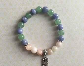 Bracelet en pierres semi-précieuses en Angelite bleu, Aventurine verte et Morganite rose