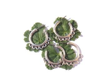 2 paires de boucles d'oreille 7 anneaux à décorer 27 mm de hauteur sans nickel couleur argent vieilli
