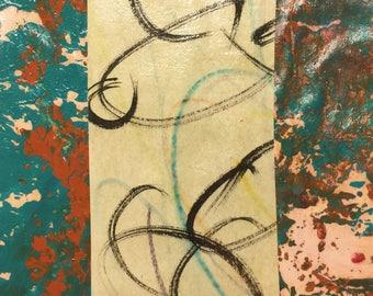 """Nie vergessen - Original Collage mit Hand gezeichnet und gemalt Papiere 4 x 4 auf 5 x 5"""" sichern"""