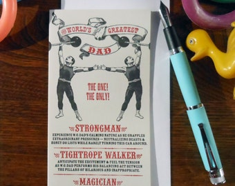 letterpress world's greatest dad sideshow circus poster greeting card