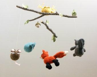 Baby Mobile, Woodland Mobile, Nursery Mobile, Fox, Squirrel, Owl, Mouse, Bird Baby Mobile, Animal Mobile, Boy Girl Nursery, Waldorf, Natural