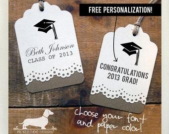 Félicitations Grad. Étiquettes à cadeaux personnalisés (lot de 12)--(Style Vintage, 2018 l'obtention du diplôme, cotillons, je vous remercie, Collège, lycée, Grad)