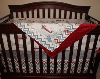 Baby Boy Crib Bedding - Vintage Airplane, Pewter Chevron, and Gray Crib Bedding Ensemble