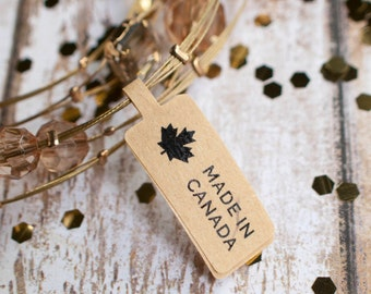 Made in canada maple leaf price tag sticker label brown kraft paper 78pcs