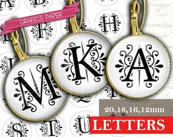 Download Digital Collage Sheet Alphabet letters Initial 20mm 18mm 16mm 12mm Circle Bottlecaps image Earring Cufflink pendants td420P