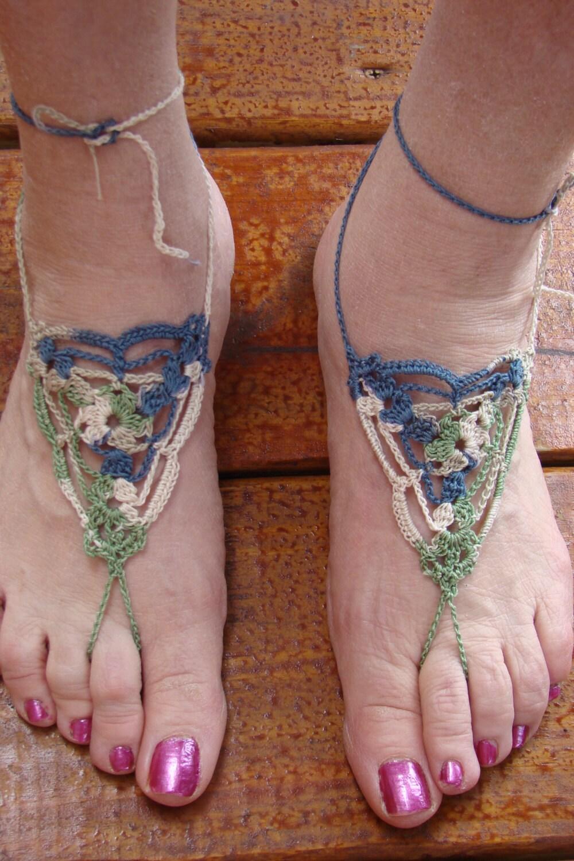 Atractivo Crochet Sandalias Descalzas Libres Patrón Foto - Patrón de ...