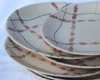 Vintage Alfred Meakin Roses dinner set - Bone China Made in England three 3 entree and & Retro Acsons Festival 2086 Genuine Stoneware Dinner Plates