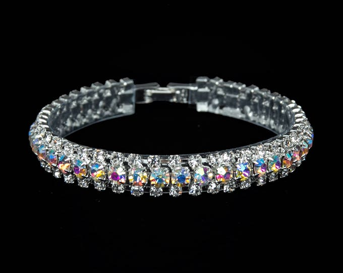 """Leah 3/8"""" AB Crystal Competition Bracelet for IFBB and NPC Bikini Fitness Bodybuilding Contests"""