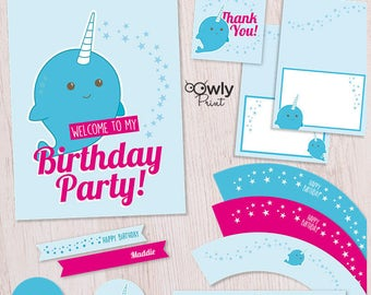 Printable Birthday Party Package - Narwhal  happy birthday printable package. Happy birthday Narwhal party package.