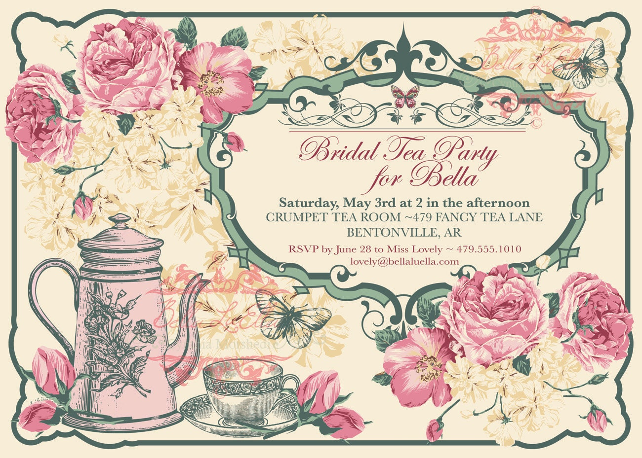 Tea Party Invitation Bridal Tea Party Garden Tea Party