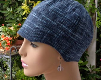 Cancer Hat Chemo Hat Chemo Headwear Blue  Reversible Made in the USA Extra-Large