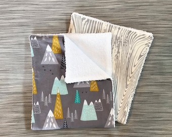 Mountain Burp Cloth Set, Cotton Backed with Terrycloth, Thick and Absorbent