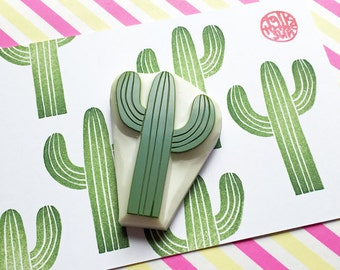 desert cactus rubber stamp | cacti stamp | birthday card making | diy party favor | gift wrapping | stationery | hand carved by talktothesun