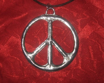 Large 60MM  Peace Sign Silver Tone Pendant Necklace