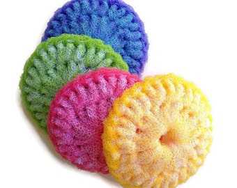 "Extra Large Double Thick  Nylon Dish Scrubbies... 2 Through 6 Colorful Dish scrubbers, You Choose the Colors, 4.5"" dia. Gift for Her"