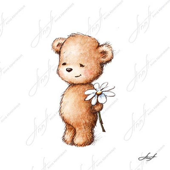 The drawing of cute teddy bear with with daisy. Printable Art.Little Girl With Teddy Bear Black And White