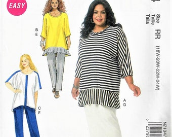 McCall's KHALIA ALI #M7134~Easy  Dolman Sleeve Tunics, Skirt and Pants~Misses' Sz 8-16 or Women's 18w-24w~New and Uncut Factory Folded