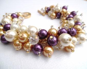 Purple Bracelet, Pearl Cluster Bracelet, Ivory Gold and Plum, Bridesmaid Jewelry, Beaded Bracelet, Pearl Wedding Jewelry, Bridesmaid Gift