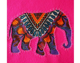Hot Pink Dashiki Elephant Hand Embroidered Picture