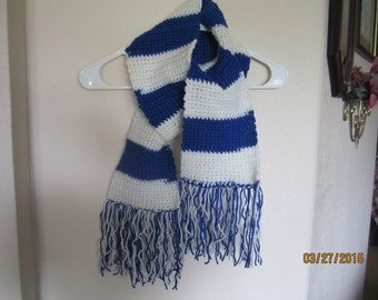 Royal Blue and White Scarf