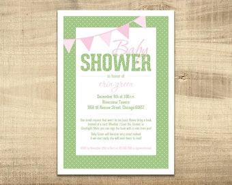 Green and Pink Dot Baby Shower Invitation - 5x7 - Digital File