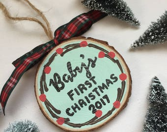 "Personalized First Christmas Ornament, Baby's First Christmas Ornament, ""Our"" First Christmas Ornament, Personalized Wood Slice Ornament"