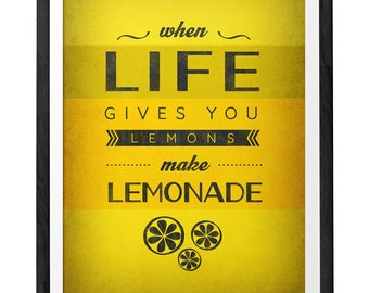 When life gives you lemons. Yellow print. Optimistic poster. Inspirational quote print. Kitchen art. Quote print. Inspirational print. UK