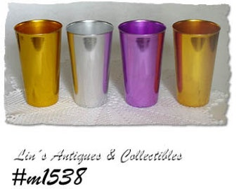 Vintage Bascal Aluminum Tumblers,Set of 4 BascalTaller Size 5 1/4 Inch Tumblers,Vintage Bascal  (Inventory #M1538)