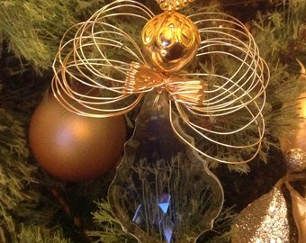 Gold Wire and Crystal Angel Ornament with Gift Pouch