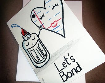 Let's Bond Cute Romantic Love Card Glue and Paper  5x7 Greeting Card Blank inside by Agorables Valentine's Day