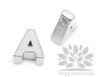 "IP002-MR-A// Matt Original Rhodium Plated Simple Initial ""A"" Pendant, 2 pcs"
