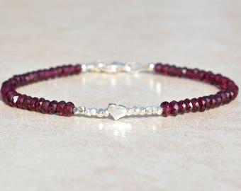 Garnet Gemstone Bracelet, Hill Tribe Silver, Gemstone Bracelet, January Birthstone, Birthday Gift, Dainty Delicate Beaded Bracelet