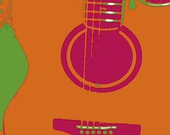 Orange Guitar Print item #4025