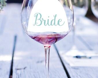 Dress Vinyl Decal, Bridesmaid Decal, Bridesmaid Glass Decal, Wedding Decal, Wine Glass Decal, Wedding Dress Glass Decal, Bridal Party Favor