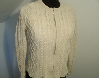 Cotton Fisherman's Sweater Jacket Cable Knit Zipper Vintage Cream Oatmeal Beige White Zip Up Wainscott Petite Women's Size Small Medium.