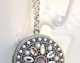 Locket Necklace, Crystal and Pearl Necklace