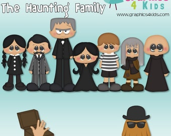 Retro tv The Haunting Family Addams Family Digital Clip art for scrapbooking, party invitations - Instant Download Clipart Commercial Use