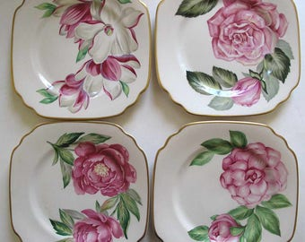 "Syracuse China plates w/flowers, square lunch plates 8"", 1950s, NR MINT, rose peony camellia magnolia floral plates, Onondaga Pottery"
