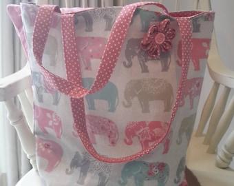 Elephant Print Shopper, beach bag, tote bag