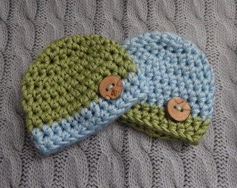Super Chunky Crochet Twin Hats,  Twin Baby Hats Newborn Knit Hats Any Size Newborn Hat Photo Prop