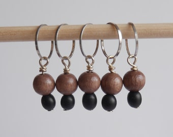 Stitch markers set of 5 brown & black