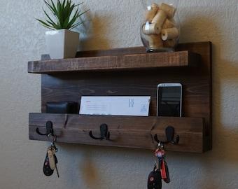 Modern Rustic Mail Organizer w/ Shelf