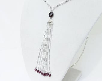 Garnet necklace, silver tassel beaded necklace, January birthstone, wine red necklace