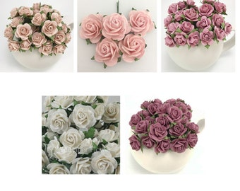 100 Pick The Color - Small Mulberry Paper Flowers Scrapbook Craft Wedding Scrapbook R6