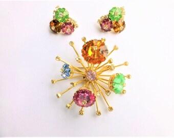 Starburst Atomic Margarita Rivoli Brooch and Clip Back Earrings Set