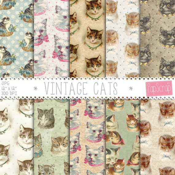 Cat Digital Paper Vintage Cats With On Rustic Background Ephemera Backgrounds Decoupage