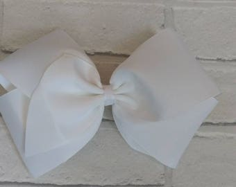 """Girls large 8"""" inch white boutique hair bow with or without bling like JoJo Siwa Bows Signature keeper dance moms"""